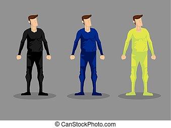 set, uomini, carattere, bodysuit, vettore, moda