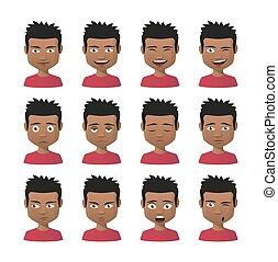 set, uomini, giovane, indiano, avatar, espressione