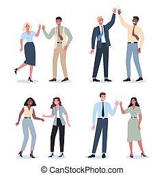 set., uomo, idea, donna, comunicazione, persone affari