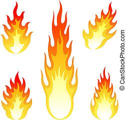 set, urente, fuoco, isolato, vettore, fiamma, bianco