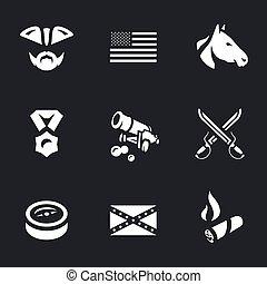 set, usa, civiel, icons., vector, oorlog