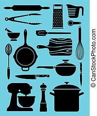 set, utensili cucina, 17, illustrations.