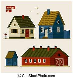 set., vário, suburbano, rural, casas, celeiros