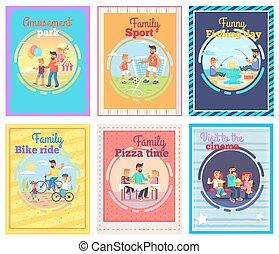 set, vader, spends, tijd, illustraties, kinderen