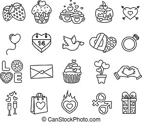 Set valentine day objects, Love icon line style