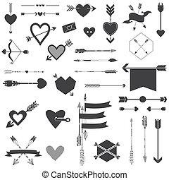 set, valentine, -, frecce, giorno, vettore, matrimonio, cuori, album, disegno