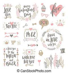 set, valentine, illustratie, hand, vector, getrokken, kalligrafie, dag