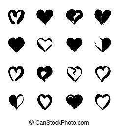 set, valentine, illustrazione, day., vettore, hearts., nero