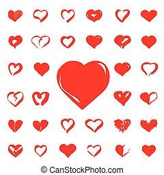 set, valentine, illustrazione, day., vettore, hearts., rosso