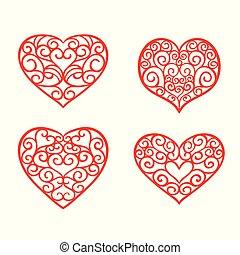 set, valentine, illustrazione, mano, day., vettore, disegno, disegnato, hearts., elementi