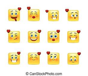 Set valentine of smilies