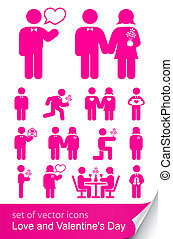 set, valentine, vrijstaand, illustratie, vector, achtergrond...