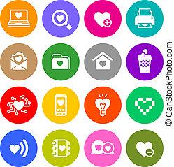 Set valentine's day buttons, love Internet symbols