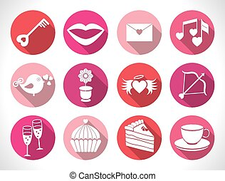 Set valentines day buttons, vector signs
