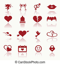 Set valentine's day icons, love on the Internet symbols