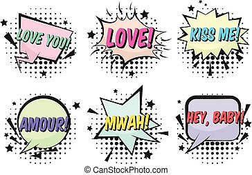 set, valentines, luminoso, discorso, retro, comico, bolle