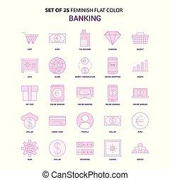 set, van, 25, feminish, bankwezen, plat, kleur, roze, pictogram, set
