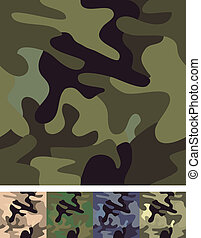 set, van, 4, camouflage, seamless.