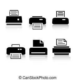 set, van, 6, printer, pictogram, variaties