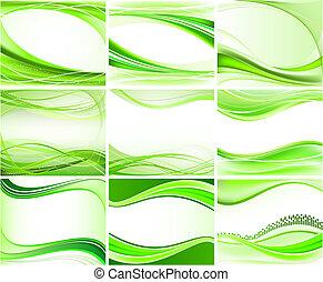 set, van, abstract, achtergronden, vector