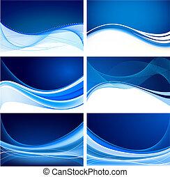set, van, abstract, blauwe achtergrond, vector