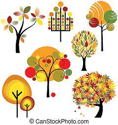 set, van, abstract, herfst, boompje