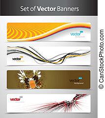 set, van, abstract, kleurrijke, web, headers.
