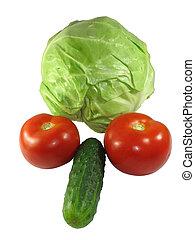 set, van, anders, groentes, vrijstaand, op wit