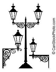 set, van, antieke , straat ontsteken, lampen