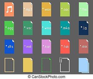 set, van, audio, bestand, uitbreiding, iconen