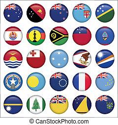 set, van, australiër, oceanië, ronde, vlag, iconen