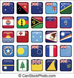 set, van, australiër, oceanië, squared, vlag, iconen