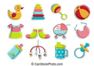 set, van, baby, pictogram