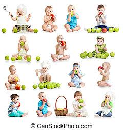 set, van, baby's, en, kinderen te eten, appeltjes , vrijstaand, op wit