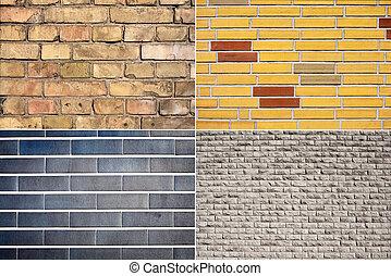 set, van, baksteen muur, achtergronden