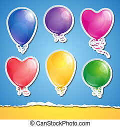 set, van, ballons