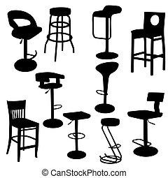 set, van, bar, armstoelen, silhouettes