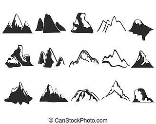 set, van, berg, iconen
