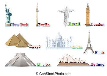 set, van, beroemd, monument, rond de wereld