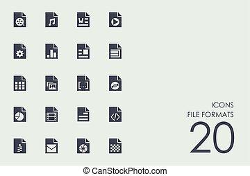 set, van, bestand, formaten, iconen