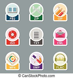 set, van, bestand, type, iconen