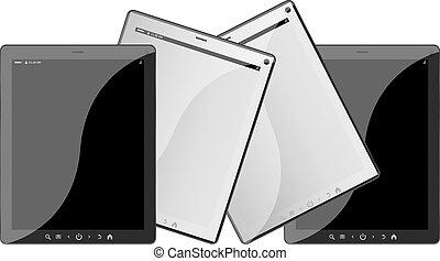 set, van, beweeglijk, elektronisch, technics., tablet pc, set