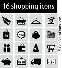 set, van, black , shoppen , iconen