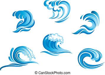 set, van, blauwe , branding, zeegolven
