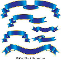 set, van, blauwe , linten