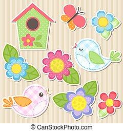 set, van, bloemen, en, vogels