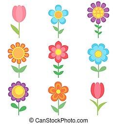 set, van, bloemen