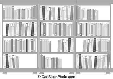 set, van, boekenkasten, en, planken