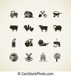 set, van, boerderij, iconen