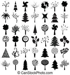 set, van, bomen